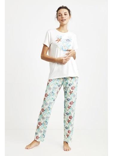 Nautica W125 Pijama Takım Beyaz